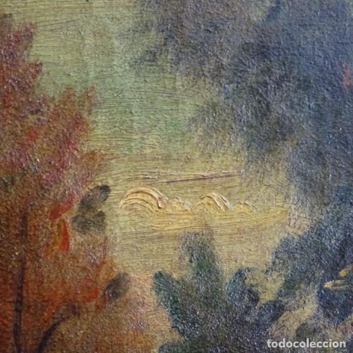 Arte: Óleo anonimo del siglo xviii-xix con mueble de madera tallado y espejos.gran calidad. - Foto 17 - 153742766