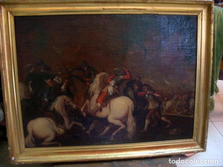 Arte: antiguo oleo sobre lienzo, batalla - Foto 2 - 153768370