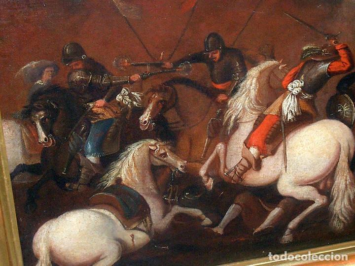 Arte: antiguo oleo sobre lienzo, batalla - Foto 3 - 153768370