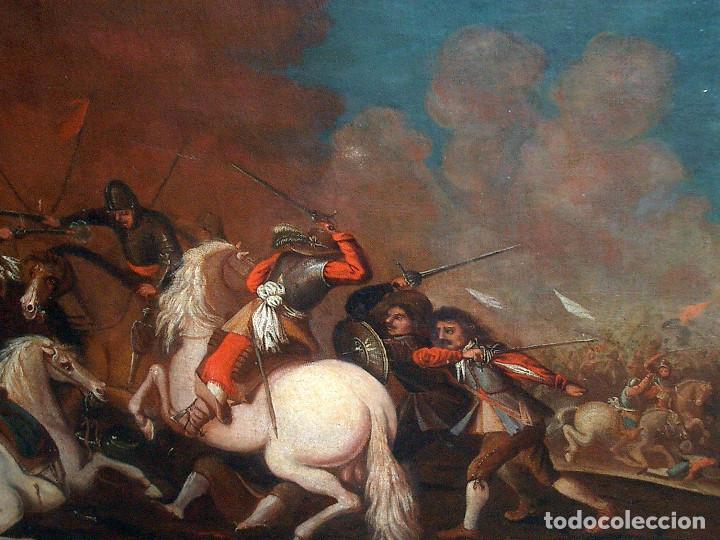 Arte: antiguo oleo sobre lienzo, batalla - Foto 4 - 153768370