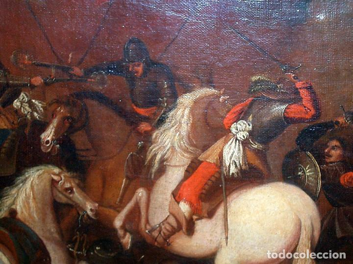 Arte: antiguo oleo sobre lienzo, batalla - Foto 5 - 153768370