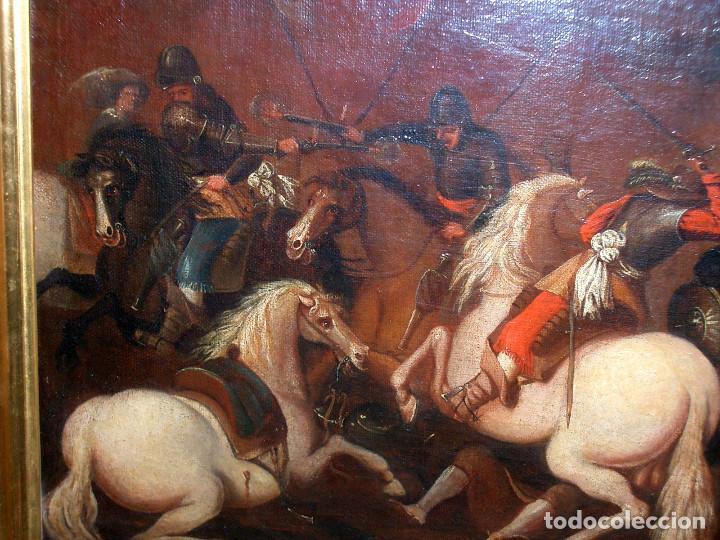 Arte: antiguo oleo sobre lienzo, batalla - Foto 7 - 153768370