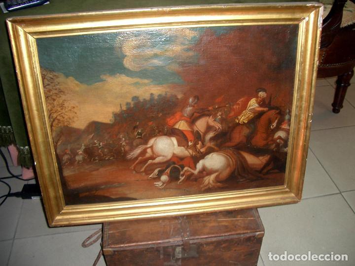 ANTIGUO OLEO SOBRE LIENZO, BATALLA (Arte - Pintura - Pintura al Óleo Antigua sin fecha definida)
