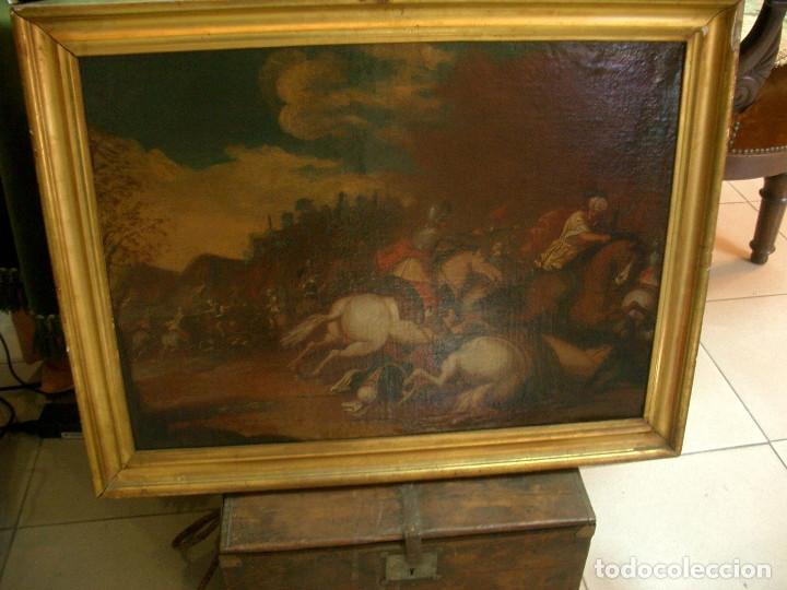 Arte: antiguo oleo sobre lienzo, batalla - Foto 2 - 153772870