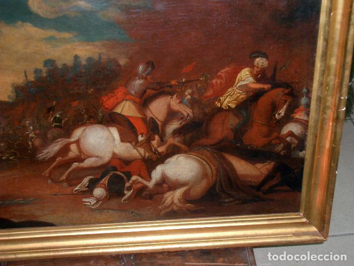 Arte: antiguo oleo sobre lienzo, batalla - Foto 3 - 153772870