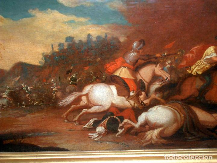 Arte: antiguo oleo sobre lienzo, batalla - Foto 6 - 153772870