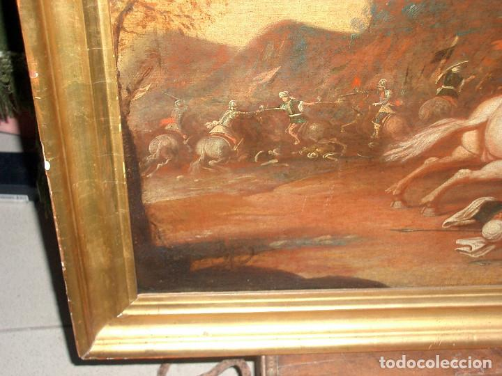 Arte: antiguo oleo sobre lienzo, batalla - Foto 7 - 153772870