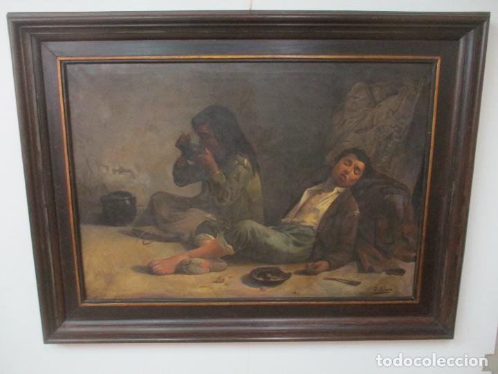 ÓLEO SOBRE TELA - CON BONITO MARCO DE MADERA - FIRMA J. SOLANA (Arte - Pintura - Pintura al Óleo Moderna siglo XIX)