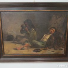 Arte: ÓLEO SOBRE TELA - CON BONITO MARCO DE MADERA - FIRMA J. SOLANA. Lote 153775318