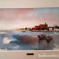 Arte: CUADRO - PINTURA ACUARELA - PORT AM BARQUES - JOSEP MARFA GUARRO - BARCELONA - AÑO 2007 -. Lote 153901258