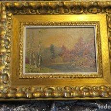 Arte - Cuadro de paisaje al óleo sobre madera (Isidro Cappa 1855-1918). - 153925158