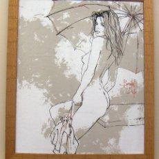 Arte: TÉCNICA MIXTA Y OLEOGRAFIA SOBRE TELA CON MARCO DE BERNARD DUFOUR. Lote 153942666