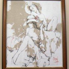Arte: TÉCNICA MIXTA Y OLEOGRAFIA SOBRE TELA CON MARCO DE BERNARD DUFOUR. Lote 153942826