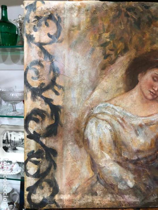 Arte: ANTIGUO OLEO SOBRE LIENZO ESCENA MODERNISTA - MEDIDA 61X50 CM - DESCONOZCO LA FIRMA - Foto 2 - 153976950
