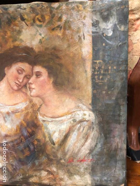 Arte: ANTIGUO OLEO SOBRE LIENZO ESCENA MODERNISTA - MEDIDA 61X50 CM - DESCONOZCO LA FIRMA - Foto 4 - 153976950