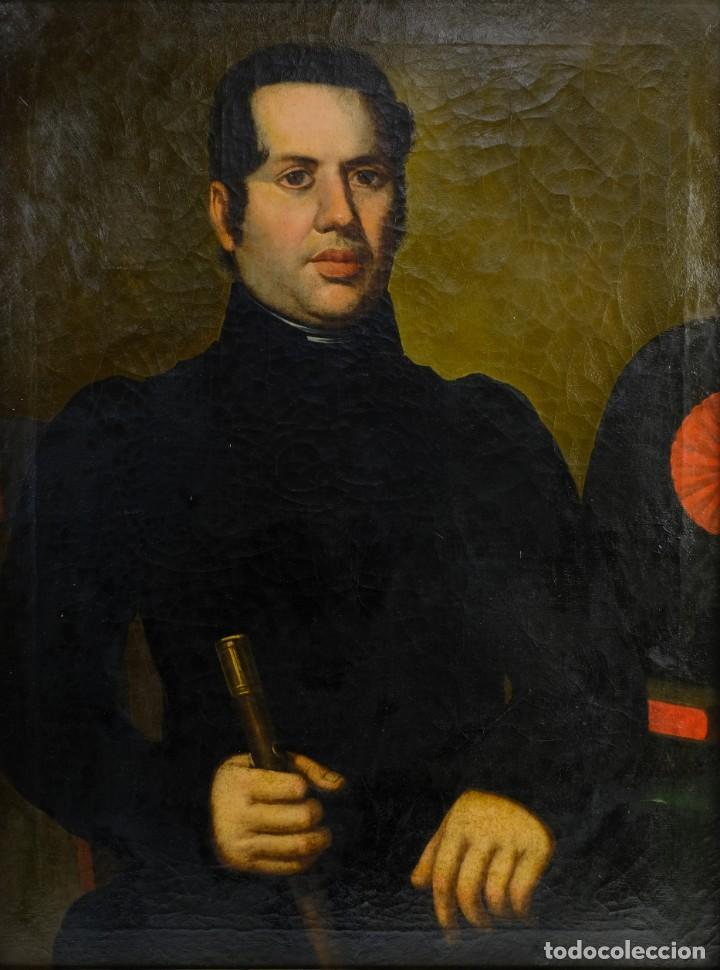 ÓLEO SOBRE LIENZO RETRATO CABALLERO CON BASTÓN DE MANDO PRIMER TERCIO SIGLO XIX (Arte - Pintura - Pintura al Óleo Moderna siglo XIX)