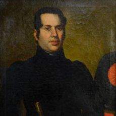 Arte: ÓLEO SOBRE LIENZO RETRATO CABALLERO CON BASTÓN DE MANDO PRIMER TERCIO SIGLO XIX. Lote 154020798