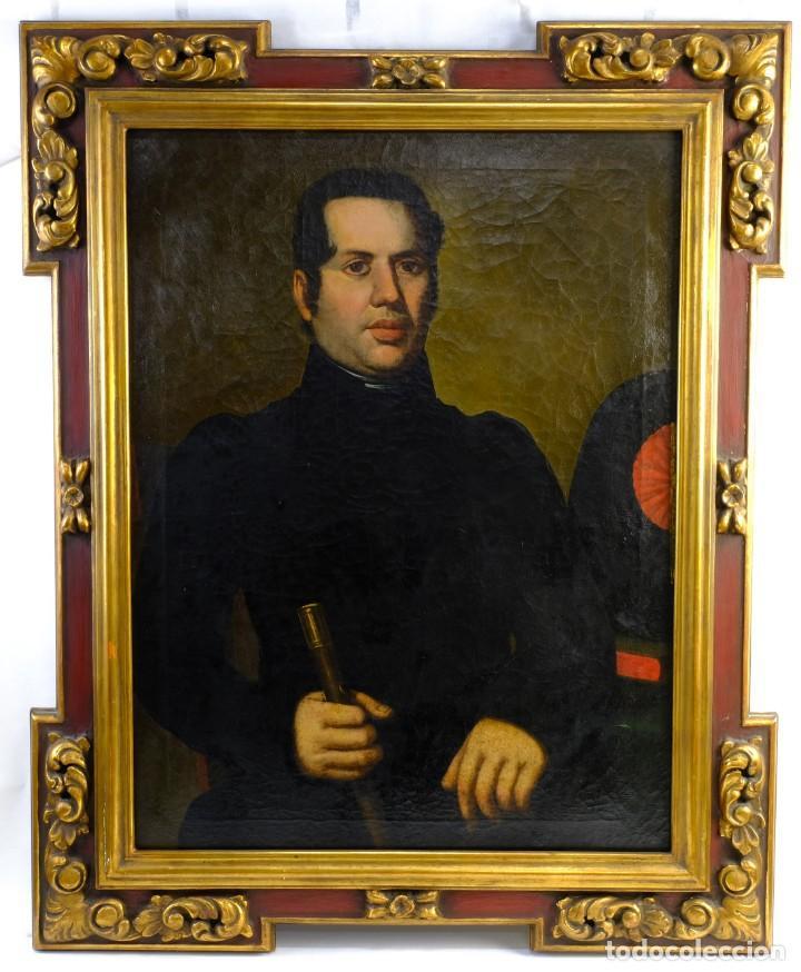 Arte: Óleo sobre lienzo Retrato caballero con bastón de mando primer tercio siglo XIX - Foto 2 - 154020798
