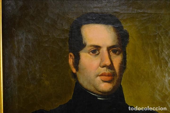 Arte: Óleo sobre lienzo Retrato caballero con bastón de mando primer tercio siglo XIX - Foto 3 - 154020798