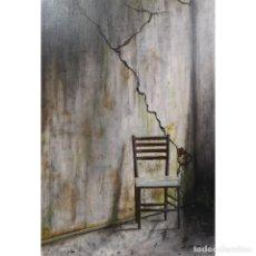 Arte: LA SILLA DE PENSAR - DAVID HADOM - MIXTA SOBRE LIENZO. Lote 154037154