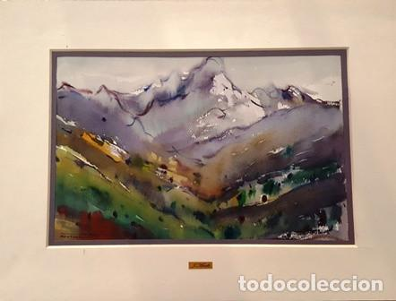 CUADRO - PINTURA ACUARELA - MONTSERRAT - JOSEP MARFA GUARRO - BARCELONA - (Arte - Pintura Directa del Autor)