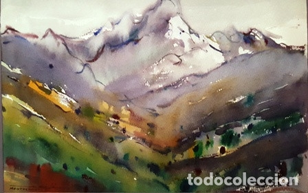 Arte: CUADRO - PINTURA ACUARELA - MONTSERRAT - JOSEP MARFA GUARRO - BARCELONA - - Foto 2 - 154057338