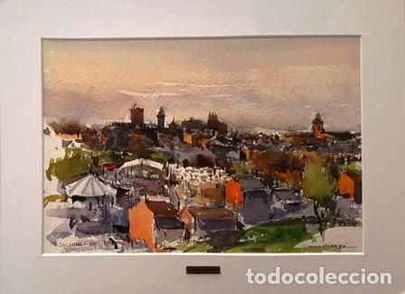 CUADRO - PINTURA ACUARELA - SOLSONA - JOSEP MARFA GUARRO - BARCELONA - AÑO 1980 - (Arte - Pintura Directa del Autor)