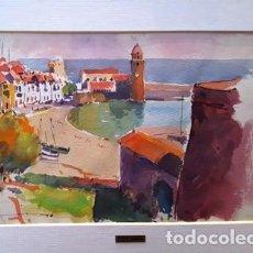 Arte: CUADRO - PINTURA ACUARELA - COLLIOURE - JOSEP MARFA GUARRO - BARCELONA - AÑO 1990 -. Lote 154290058
