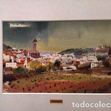 Arte: CUADRO - PINTURA ACUARELA - POBLE - JOSEP MARFA GUARRO - BARCELONA -. Lote 154293606