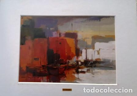 CUADRO - PINTURA OLEO SOBRE CATON - PORT - JOSEP MARFA GUARRO - BARCELONA - (Arte - Pintura Directa del Autor)