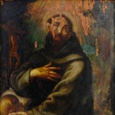 Arte: ÓLEO SOBRE TABLA SAN FRANCISCO SIGLO XVII. Lote 154320142