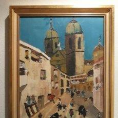 Arte: OLEO IMPRESIONISTA EN LIENZO, FIESTA ENCIERRO PUEBLO COMUNIDAD DE VALENCIA? FIRMADO, AÑO 83, 53X39. Lote 154327238