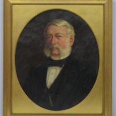 Arte: RETRATO DE CABALLERO CON LEONTINA. FIRMADO Y FECHADO. 1874. OLEO S/ LIENZO. Lote 154363526