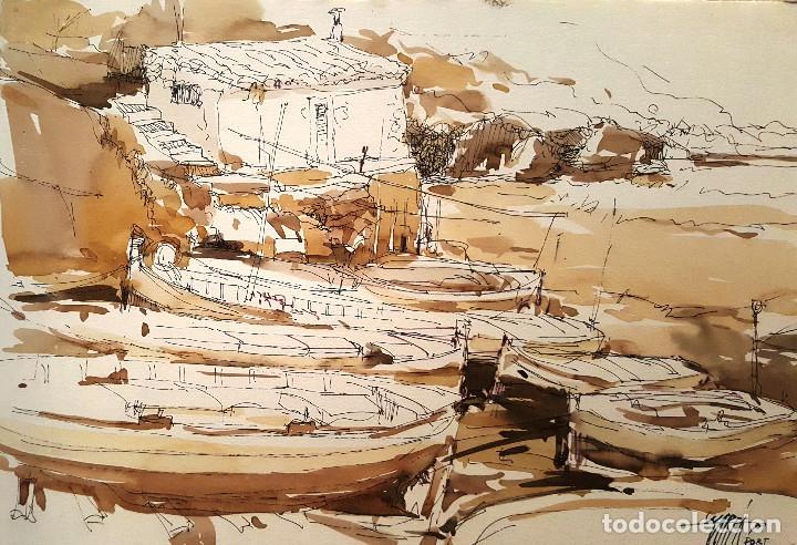 PINTURA A TINTA Y ACUARELA - PORT VALLDEMOSA - JOSEP MARFA GUARRO - BARCELONA - (Arte - Pintura Directa del Autor)