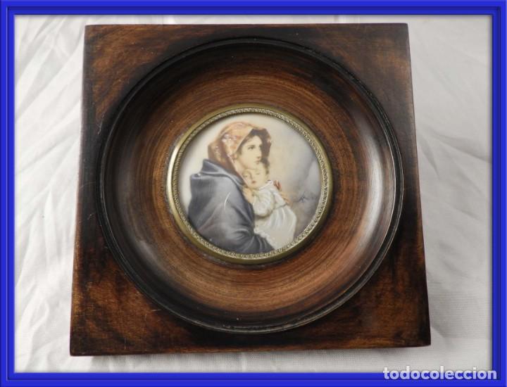 MAGNIFICA MINIATURA AL OLEO SOBRE MARFIL FIRMADA S. XIX (Arte - Pintura - Pintura al Óleo Antigua sin fecha definida)