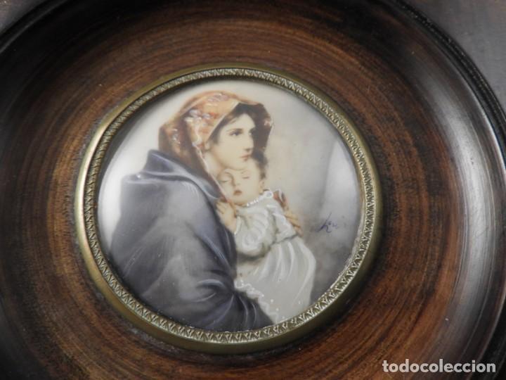 Arte: MAGNIFICA MINIATURA AL OLEO SOBRE MARFIL FIRMADA S. XIX - Foto 3 - 154472714
