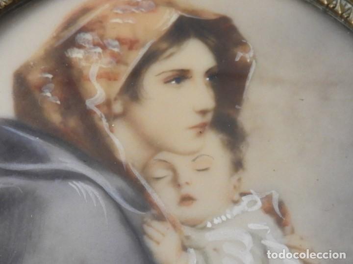 Arte: MAGNIFICA MINIATURA AL OLEO SOBRE MARFIL FIRMADA S. XIX - Foto 5 - 154472714