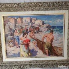 Arte: FRANCISCO RODRIGUEZ SANCLEMENT: PESCADORES DE PEÑISCOLA. OLEO SOBRE TABLA.. Lote 154537982
