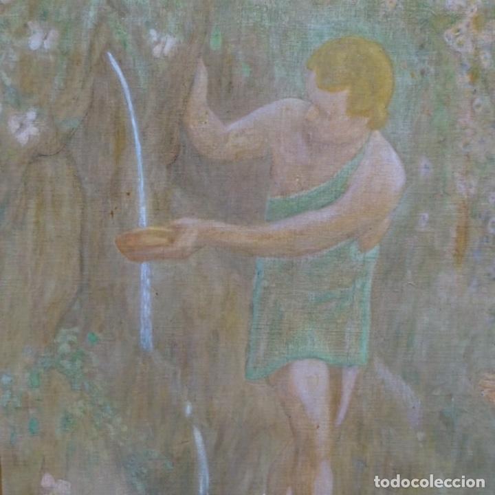 Arte: Gran Óleo noucentista de Pere viver aymerich(Terrassa 1873-1917).pieza de museo. - Foto 8 - 154560598