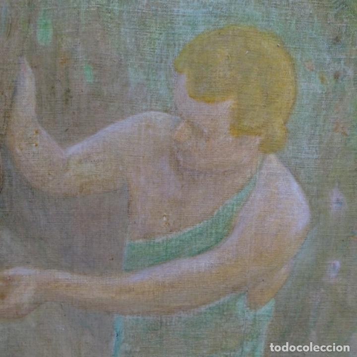Arte: Gran Óleo noucentista de Pere viver aymerich(Terrassa 1873-1917).pieza de museo. - Foto 9 - 154560598
