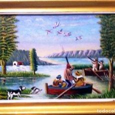 Arte: TARIFA VAZQUEZ, JESUS.- CAZADORES DE PATOS- OLEO SOBRE LIENZO, DE 38 X 23 CM. FIRMADO Y ENMARCADO.. Lote 154637686