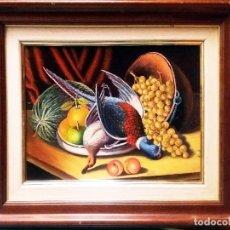 Arte: TARIFA VAZQUEZ, JESUS.-BODEGON CON FAISAN Y PATO -OLEO S/TABLEX, 38 X 28 CM. FIRMADO Y ENMARCADO.. Lote 154676974