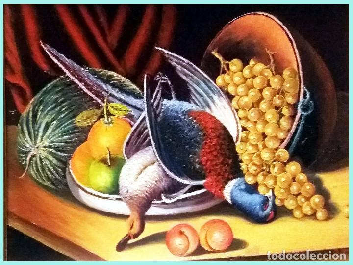 Arte: TARIFA VAZQUEZ, JESUS.-BODEGON con FAISAN y PATO -Oleo s/tablex, 38 x 28 cm. Firmado y enmarcado. - Foto 2 - 154676974