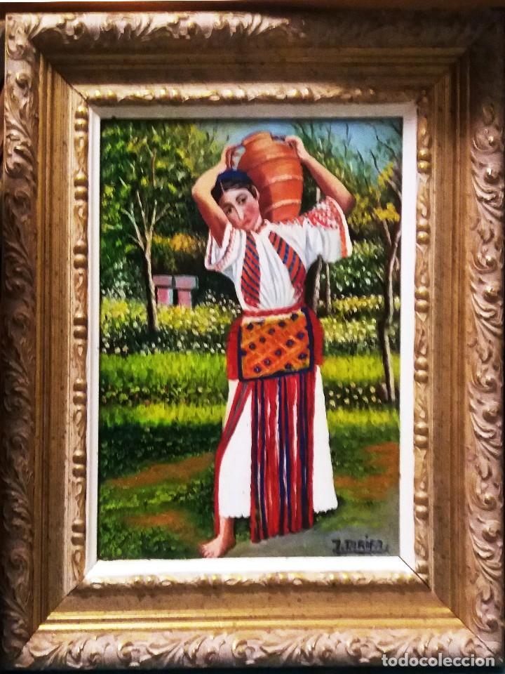 TARIFA VAZQUEZ, JESUS.-MUJER HINDU CON CANTARO -OLEO SOBRE TABLEX, 24 X 20 CM. FIRMADO Y ENMARCADO. (Arte - Pintura Directa del Autor)