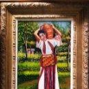 Arte: TARIFA VAZQUEZ, JESUS.-MUJER HINDU CON CANTARO -OLEO SOBRE TABLEX, 24 X 20 CM. FIRMADO Y ENMARCADO.. Lote 154688610