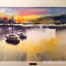 Arte: CUADRO - PINTURA ACUARELA - BARQUES - JOSEP MARFA GUARRO - BARCELONA - AÑO 1990 -. Lote 154769650