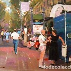 Arte: CUADRO - PINTURA -OLEO SOBRE TELA- RAMBLAS DE BARCELONA JOSEP MARFA GUARRO - BARCELONA - AÑO 1989 -. Lote 212914058