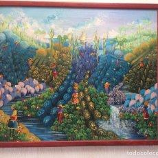 Arte: CUADRO NAIF OLEO - 53X63 - ESCUELA HAITÍ - FIRMADO: JOHN A. PIERRE AÑO 95 PINTURA. Lote 154787226