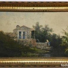 Arte: MERCADÉ. 1891. ÓLEO SOBRE TABLA. PAISAJE RURAL. LAVANDERA. RIO. LAVADERO. MUJER LIMPIANDO ROPA.. Lote 154802290