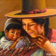 Arte: ÓLEO SOBRE LIENZO MADRE E HIJO SIGLO XX. Lote 154845806